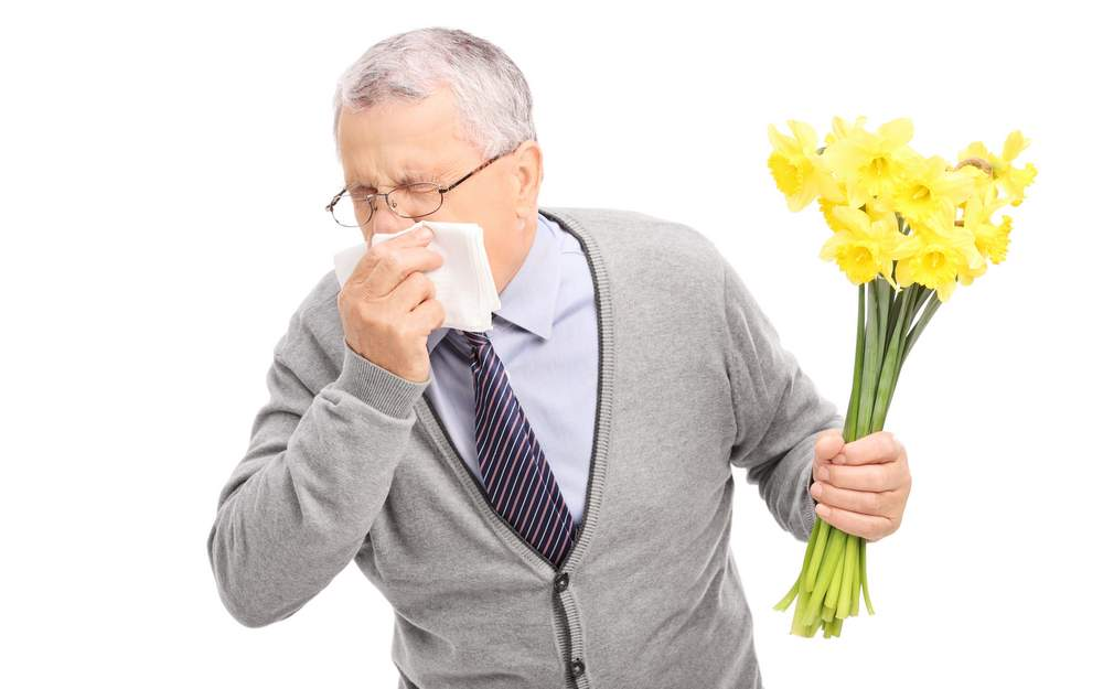 healthy senior having allergic reaction to flowers during allergy season causing him to sneeze