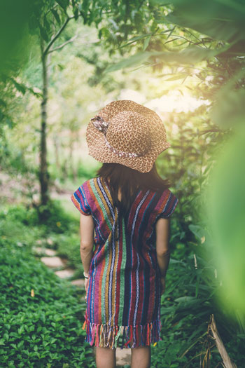 Woman getting out in nature